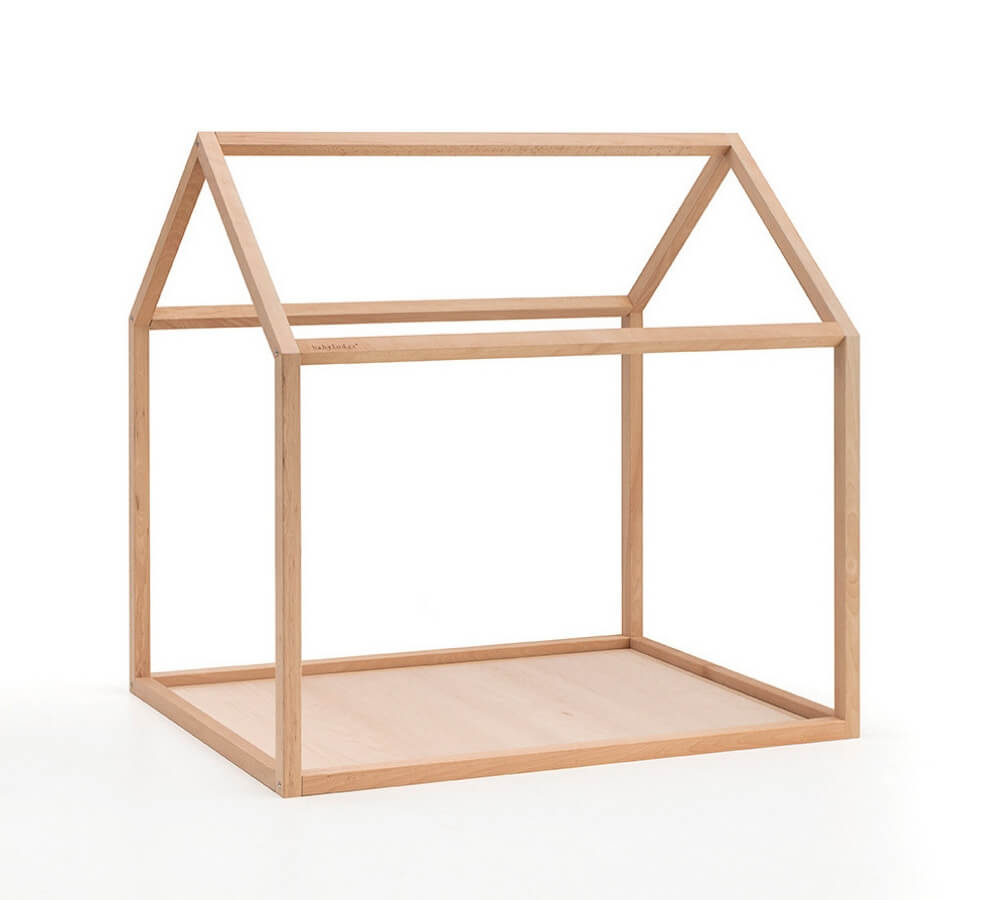 Lettino Montessori a casetta in legno di faggio massello, Babylodge