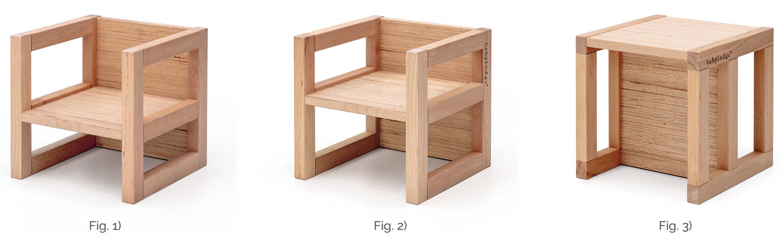 sedia e sgabello Montessori in legno di faggio massello