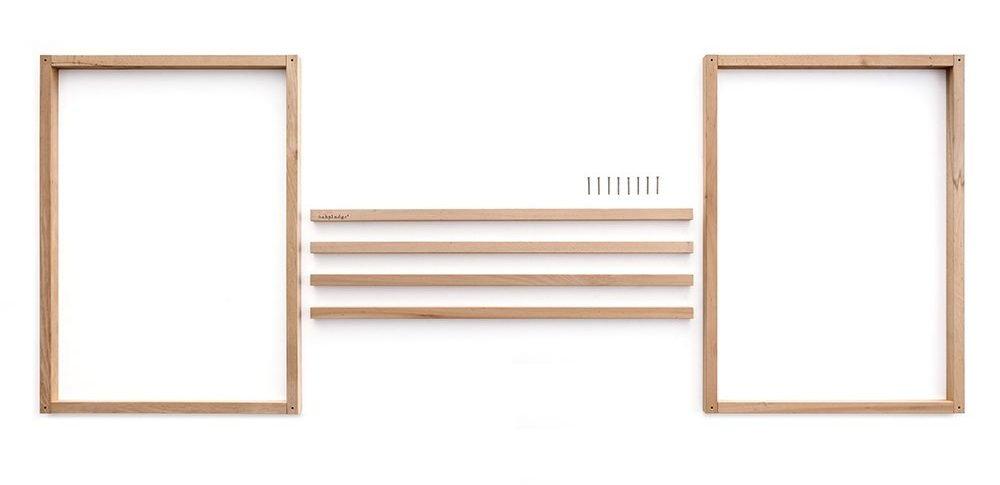 Lettino Montessori a baldacchino in legno naturale, smontato