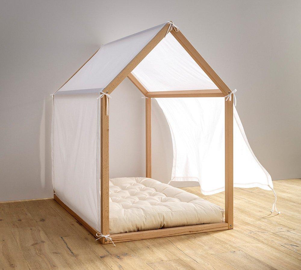 velo décor per lettino montessori a casetta, tenda baldacchino bianca per lettino a casetta, babylodge